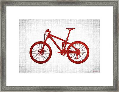 Mountain Bike Silhouette - Red On White Canvas Framed Print by Serge Averbukh