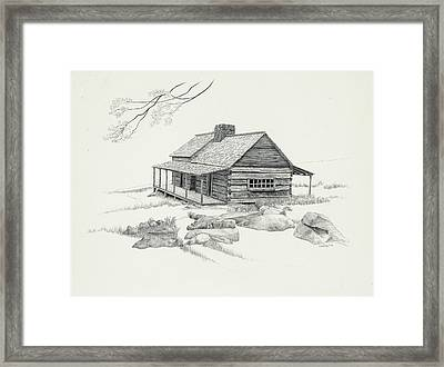 Mountain Cabin Framed Print by Nancy Hilgert