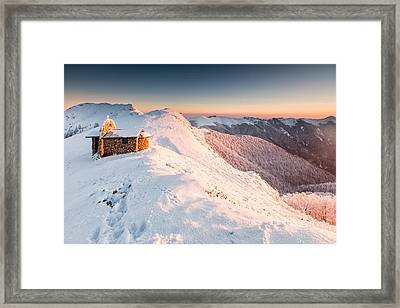 Mountain Chapel Framed Print by Evgeni Dinev