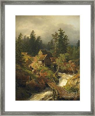 Mountain Landscape With Torrent And Water-mill Framed Print by MotionAge Designs