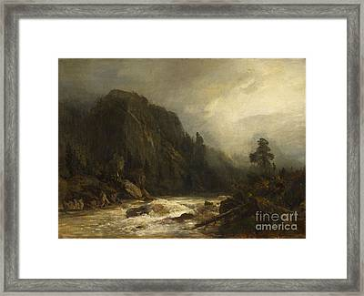 Mountain Landscape With Torrent Framed Print by MotionAge Designs