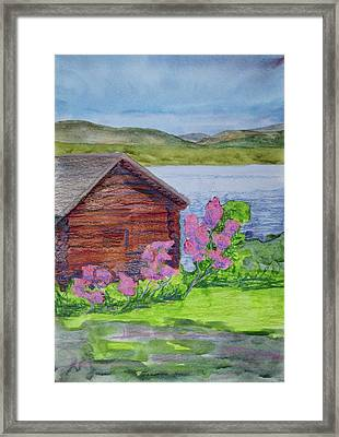 Mountain Laurel By The Cabin Framed Print by Bethany Lee