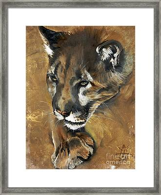 Mountain Lion - Guardian Of The North Framed Print by J W Baker