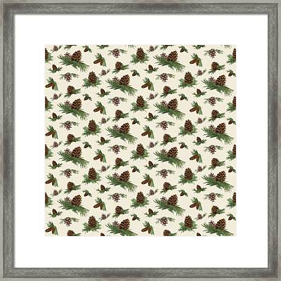 Mountain Lodge Cabin In The Forest - Home Decor Pine Cones Framed Print by Audrey Jeanne Roberts