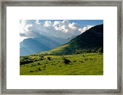 Mountain Rays Framed Print by Evgeni Dinev
