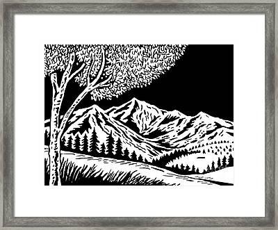 Mountain Scene Framed Print by Aloysius Patrimonio