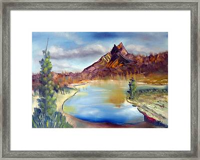 Mountain Scene With Lake Framed Print by Miriam Besa