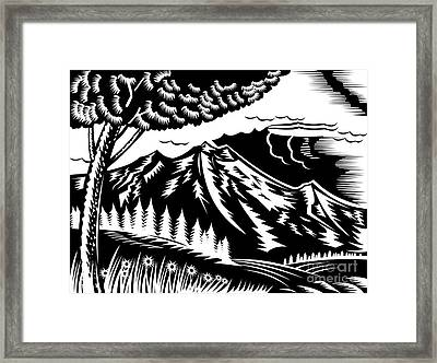 Mountain Scene Woodcut Framed Print by Aloysius Patrimonio