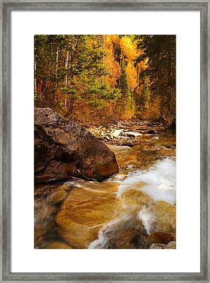 Mountain Stream In Autumn Framed Print by Utah Images