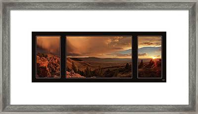 Mountain Sunset Triptych Framed Print by Leland D Howard