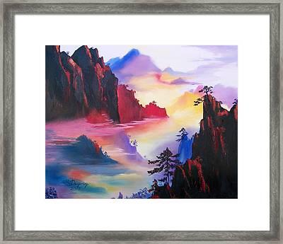 Mountain Top Sunrise Framed Print by Sharon Duguay