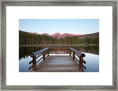 Mountains Behind Sprague Lake Framed Print by Lightvision, LLC