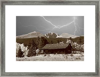 Mountains Cabin - Lightning - Longs Peak Framed Print by James BO  Insogna