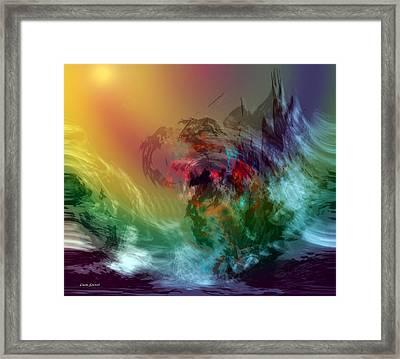 Mountains Crumble To The Sea Framed Print by Linda Sannuti