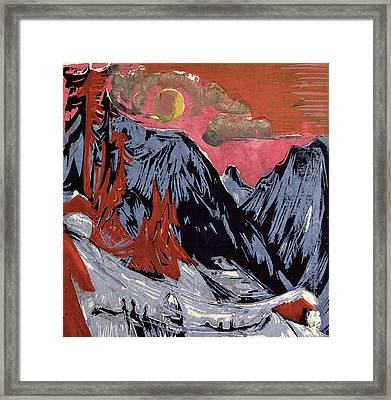 Mountains In Winter Framed Print by Ernst Ludwig Kirchner