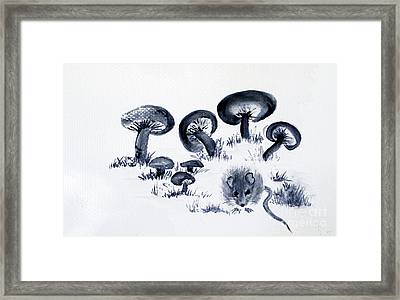 Mouse N Mushrooms Framed Print by Sibby S