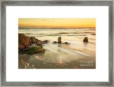 Movement Of The Sea At Sunset, Long Exposure Framed Print by Felix Lai