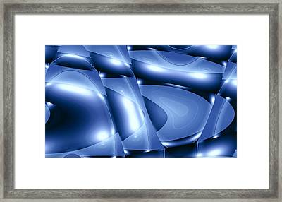 Moveonart Inverted Minimal Wave And Light In Blue Framed Print by Jacob Kanduch