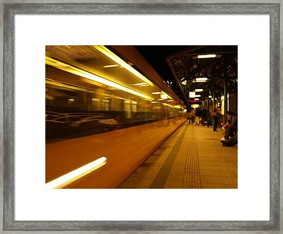 Moving Train Framed Print by Devin Hyde