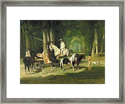 Mr And Mrs A Mosselman And Their Two Daughters Framed Print by Alfred Dedreux