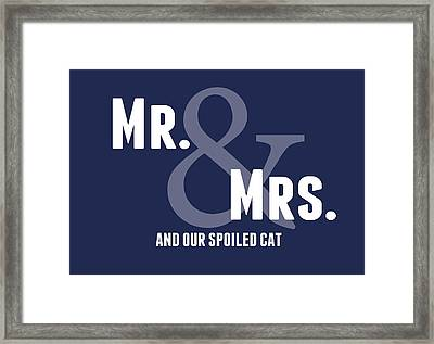 Mr And Mrs And Cat Framed Print by Linda Woods