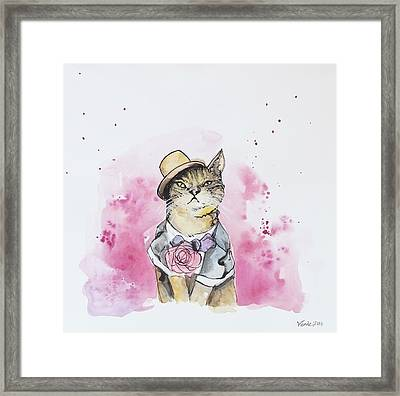 Mr Cat In Costume Framed Print by Venie Tee