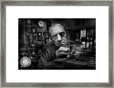 Mr. Domenico, The Watchmaker, To Work With Complicated Mechanisms Framed Print by Antonio Grambone