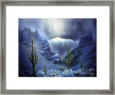 Finger Rock Canyon Snow Framed Print by Jerry Bokowski