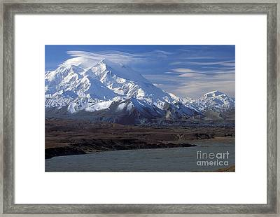 Mt. Mckinley And Lenticular Clouds Framed Print by Sandra Bronstein