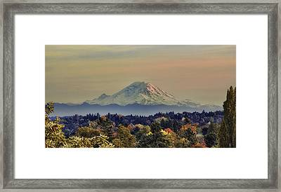 Mt Rainer Fall Color Rising Framed Print by James Heckt
