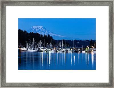 Mt. Rainier From Gig Harbor Framed Print by Randy Bayne