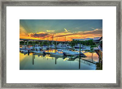Sunset At Mudcat Charlies Two Way Fish Camp Altamaha River Darien Georgia Framed Print by Reid Callaway