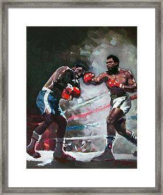 Muhammad Ali And Joe Frazier Framed Print by Ylli Haruni