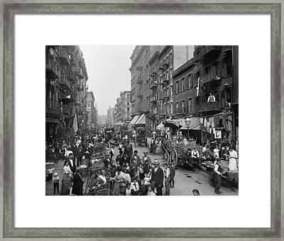Mulberry Street In New York Citys Framed Print by Everett