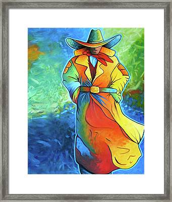 Multi Color Cowboy Framed Print by Lance Headlee
