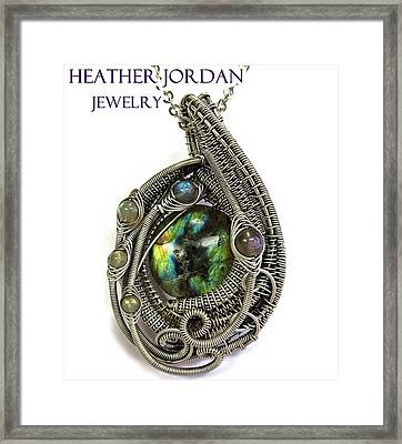 Multi-colored Labradorite Wire-wrapped Pendant In Antiqued Sterling Silver Labpss1 Framed Print by Heather Jordan