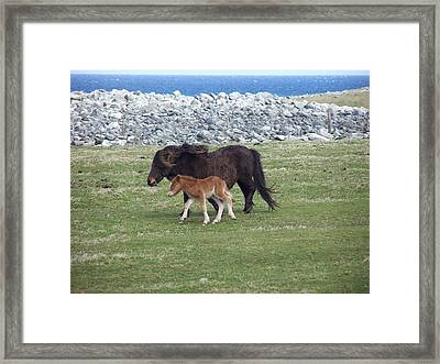 Mum And Daughter On A Windy Day Framed Print by George Leask