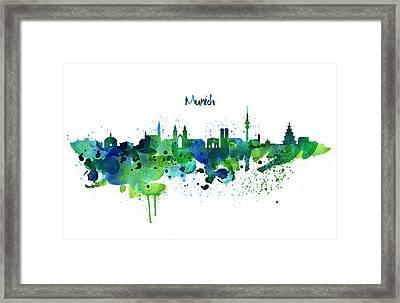 Munich Skyline Silhouette Framed Print by Marian Voicu