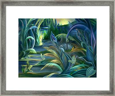 Mural  Insects Of Enchanted Stream Framed Print by Nancy Griswold