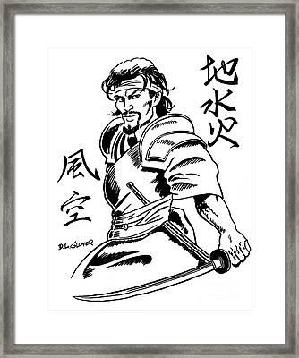 Musashi Samurai Tattoo Framed Print by David Lloyd Glover