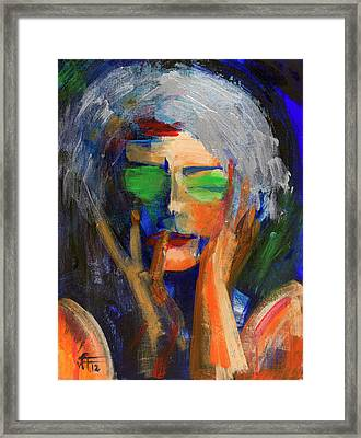 Muse Thinking Framed Print by Walter Fahmy