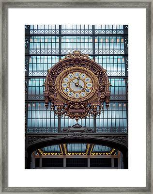 Musee D'orsay Gold Clock Framed Print by Joan Carroll