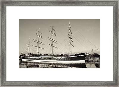 Mushulu - Penns Landing In Sepia Framed Print by Bill Cannon