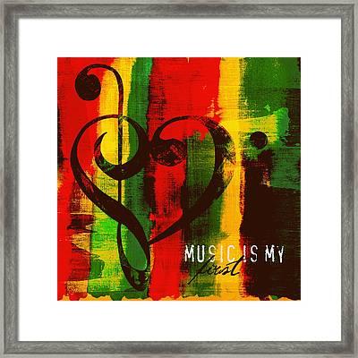 Music Is My First Love V3 Framed Print by Brandi Fitzgerald