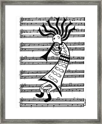Music Man Kokopelli Framed Print by Susie WEBER