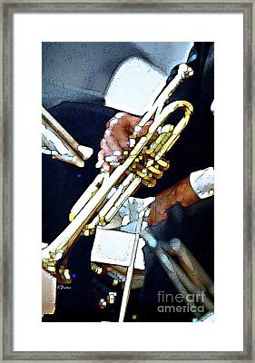 Music Man Trumpet Framed Print by Linda  Parker