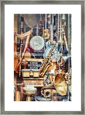 Music Store Nyc Framed Print by HD Connelly