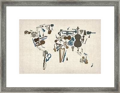 Musical Instruments Map Of The World Map Framed Print by Michael Tompsett