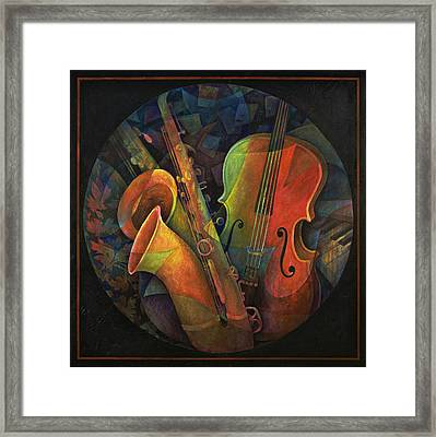 Musical Mandala - Features Cello And Sax's Framed Print by Susanne Clark