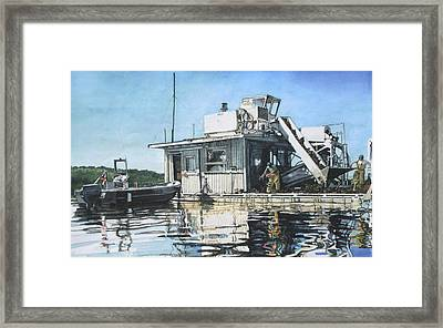 Mussel Harvest On Penn Cove Framed Print by Perry Woodfin